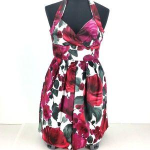Ruby Rox  Satin Floral Print Empire Waist Halter